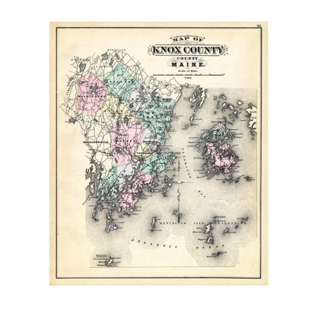 1884, Knox County Map, Maine, United States Print Wall (A Map Of Maine With Towns And Cities)