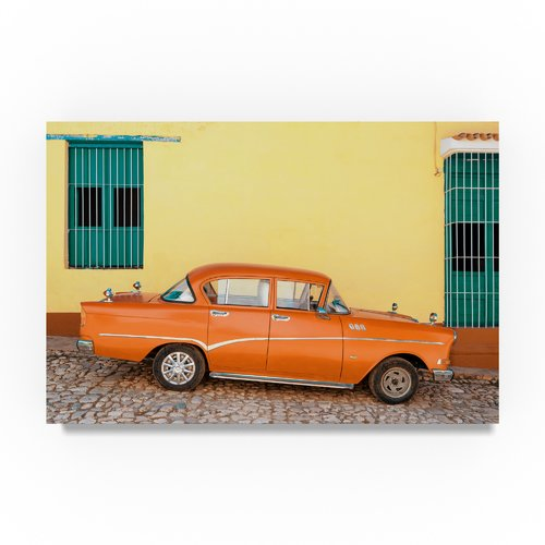 Trademark Fine Art 'Orange Classic Car in Trinidad' Photographic Print on Wrapped Canvas
