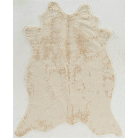 "Riverbay Furniture 5' x 6'6"" Faux Cowhide Area Rug in Ivory"