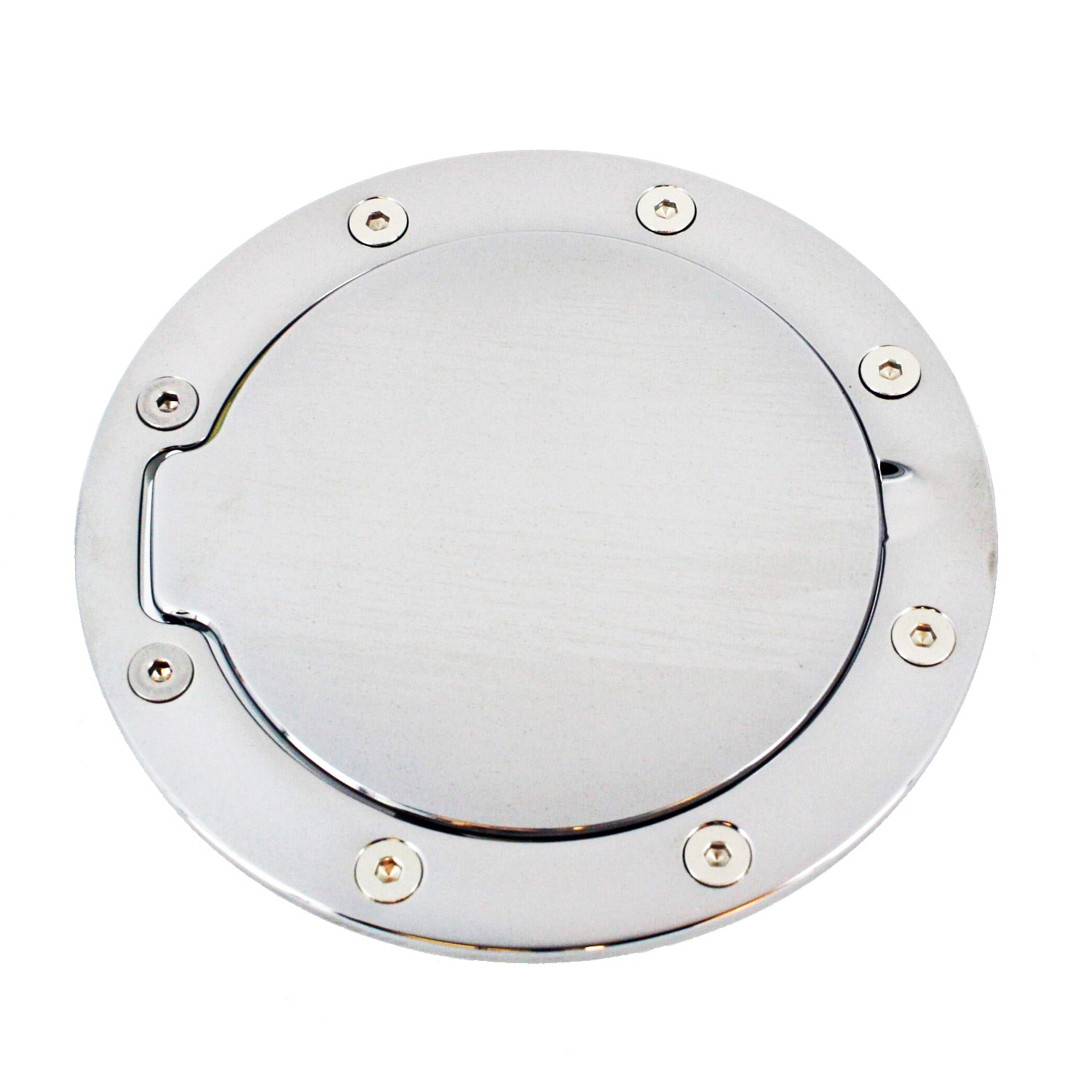 All Sales 6106C Race Style Billet Fuel Door; Chrome; Non-Locking; 6 1/4 in. O.D. 4 1/2 in. O.D.;