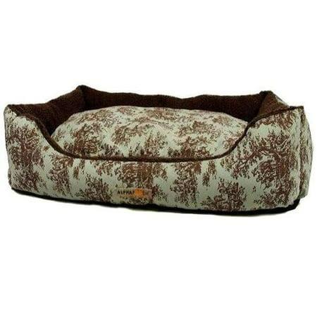 Image of AlphaPooch Cuddler Rectangular Bolster Dog Bed, Celery Toile Fabric with Coco Fleece, Medium