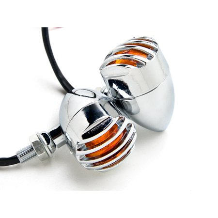 Krator Motorcycle 2 Pcs Chrome Amber Turn Signals Lights For Harley Davidson Road King Custom Classic