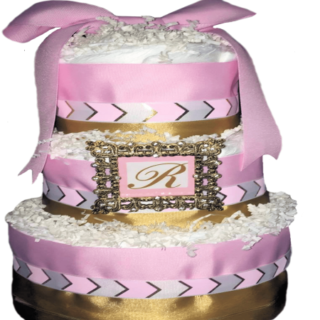 Pink & Gold Its A Baby Girl 3 Tier Diaper Cake