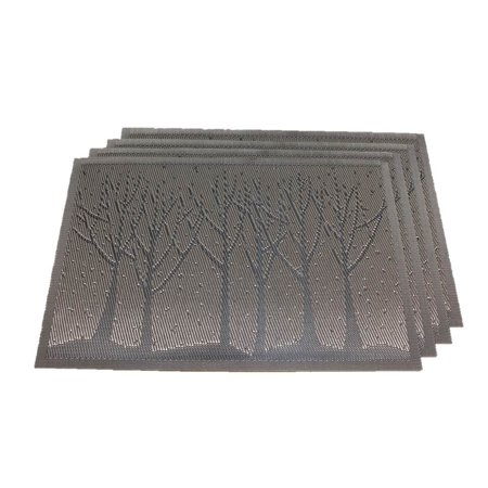 TEMO Placemats with Table Runners, PVC Heat Resistant Table Mats for Kitchen Dining Table, Washable Place Mats, Set of 4[Brown woods] ()