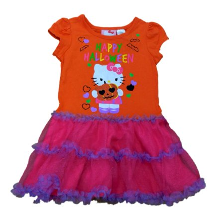 Sanrio Toddler Girls Ruffled Orange Tulle Hello Kitty Happy Halloween Dress