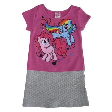 My Little Pony Little Girls Fuchsia Gray Cartoon Inspired Print - Pony Dresses