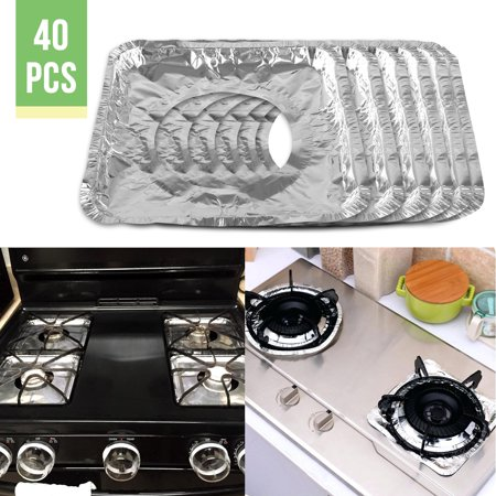 40-pack Aluminum Foil Square Gas Burner Disposable Bib Liners Stove Covers Durable