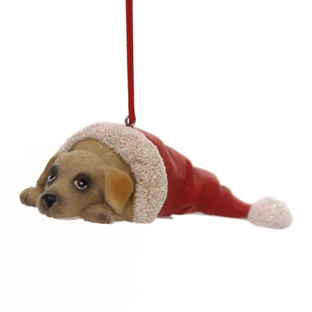 Holiday Ornaments PUPPY IN SANTA HAT Polyresin Best Friend