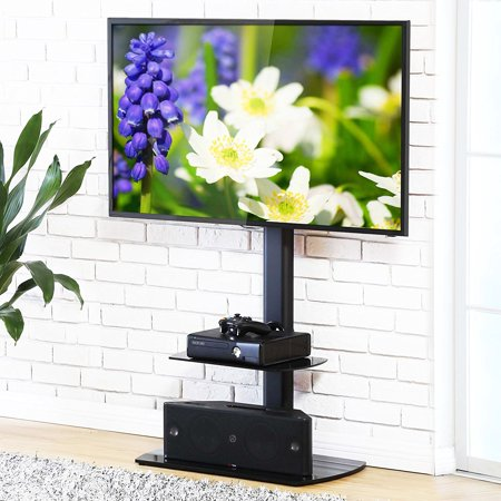 FITUEYES Swivel Floor TV Stand with Mount and Shelves for 32 to 65 Inch TV TT206502GB ()