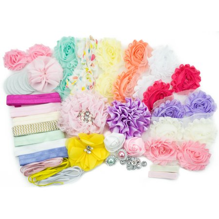 Baby Shower Games Party Supplies Station DIY Headband Kit by JLIKA - Make 20 Headbands and 2 Clips - DIY Hair Bow Kit - Pastel - Pastel Baby Shower Niño