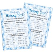 Blue Boy Baby Shower - Who Knows Mommy Best Game Cards, 20 Count
