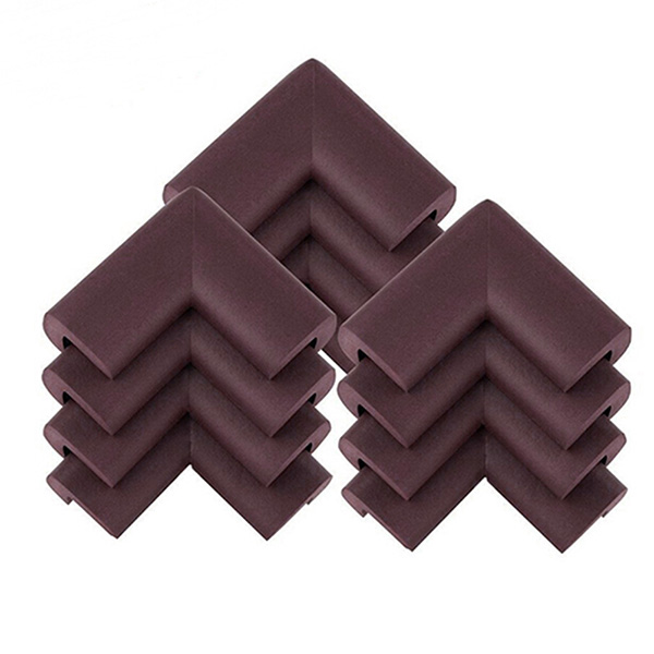 12pcs Baby Safety Thickened NBR Foam Corner Edge Cushions Desk Table Protector Cover Guard (Brown)