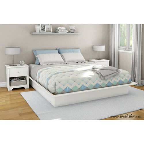 South Shore Basics Queen Platform Bed with Molding, 60'', Multiple Finishes
