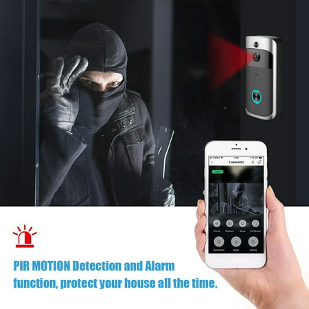 Wireless Battery Video Doorbell Home Security WiFi Smartphone Control Door Bell Camera - image 8 of 12