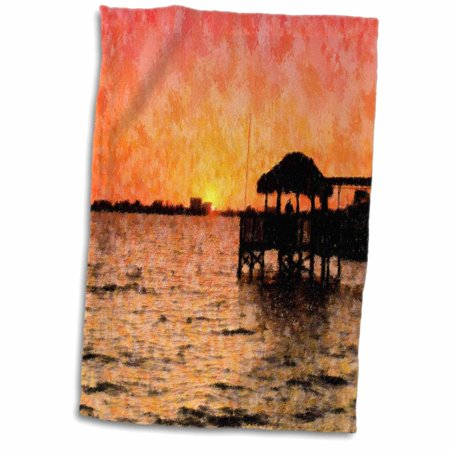 3dRose Image of Florida River Sunset With Tiki Hut Impression Style - Towel, 15 by 22-inch](Diy Tiki Hut)