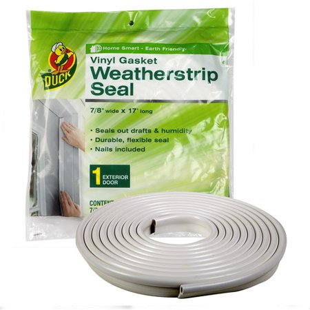 Duck Brand Vinyl Gasket Weatherstrip Seal - White, .88 in. x 17 ft (Weatherstrip Package)