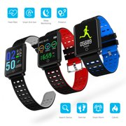 EEEKit Smart Watch, IP65 Waterproof Fitness Activity Tracker with Heart Rate Monitor, Wearable All-day Activity Tracking, Bluetooth Running GPS Tracker Sport Band, Black
