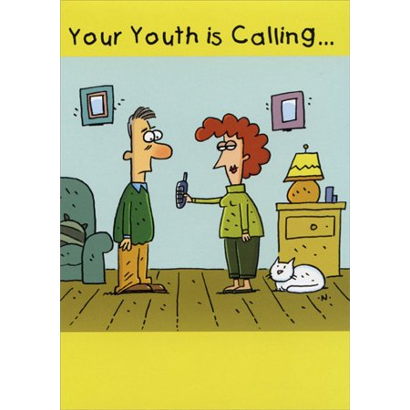 Oatmeal Studios Youth is Calling Funny / Humorous Birthday (Best Calling Card For Morocco)