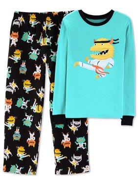 Carter's Boys' 2-Piece Fleece Pajama Set, Green/Black, Size 7