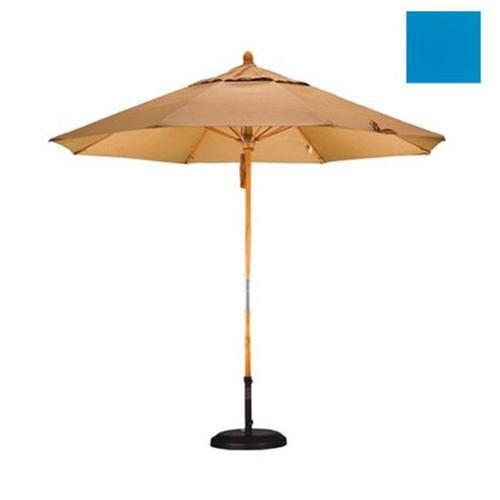 9' Fiberglass Market Umbrella Pulley Open Marenti Wood/Sunbrella/Pacific Blue