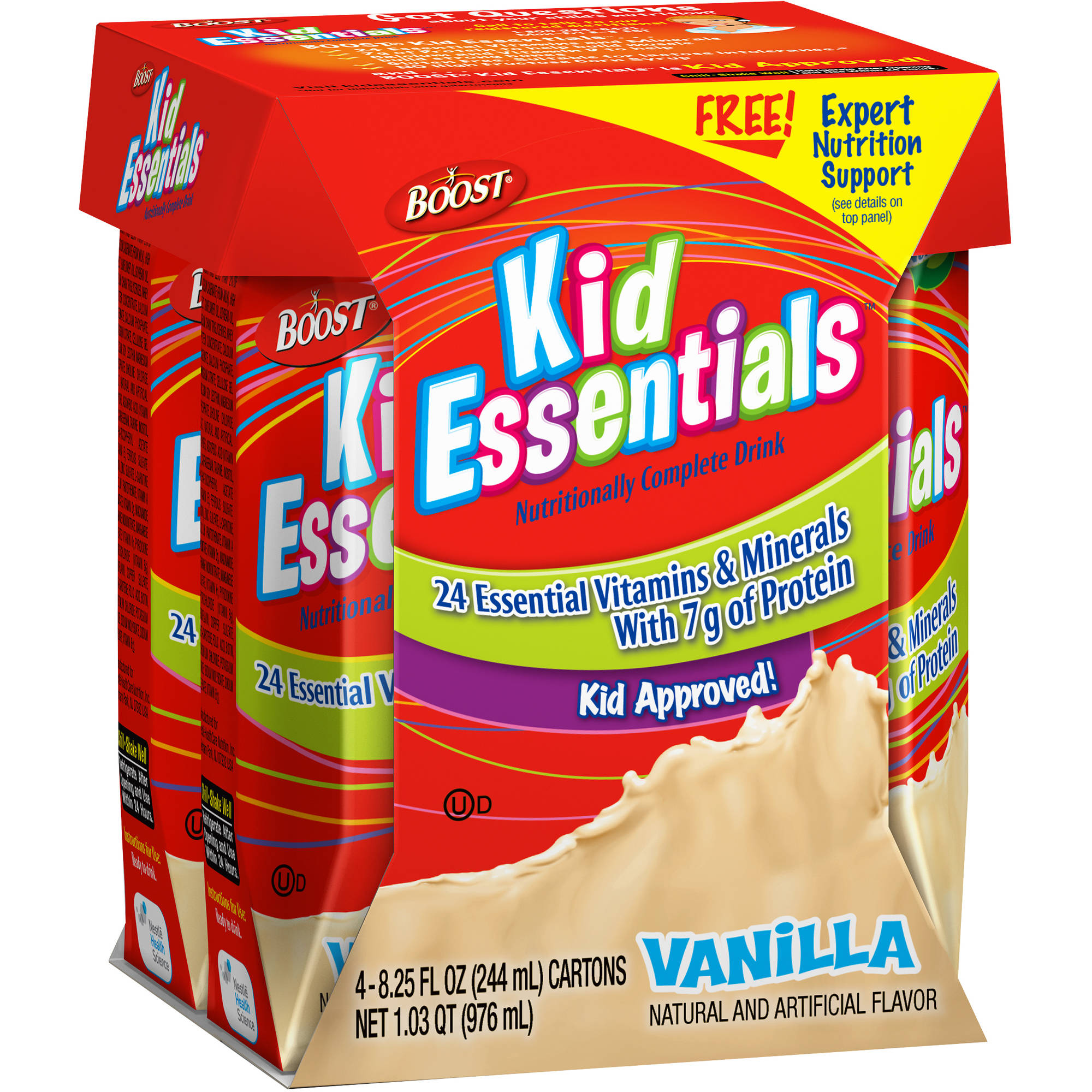 Boost Kid Essentials Vanilla Nutritional Complete Drink, 8.25 Ounce, 4 Count