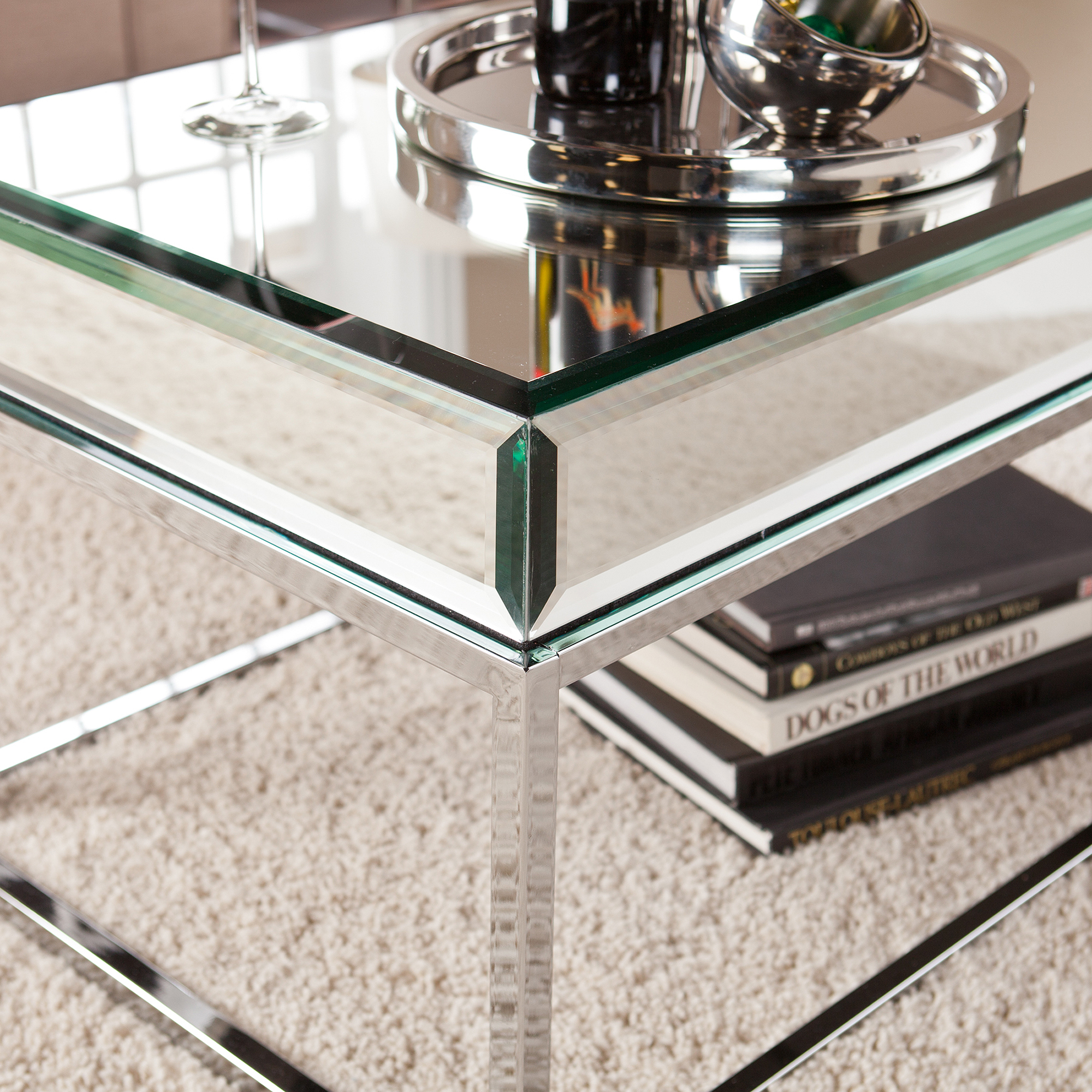Illusions Collection Mirrored Accent Table Walmart