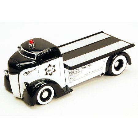 1947 Ford COE Flatbed Police Towing Truck, White & Black - Jada Toys Heat 96284 - 1/24 scale Diecast Model Toy Car