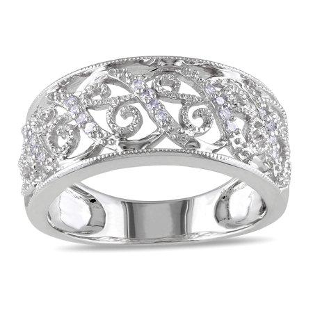 14k White Gold 1/ 10ct TDW Diamond Filigree Lace (14k Filigree Diamond Ring)