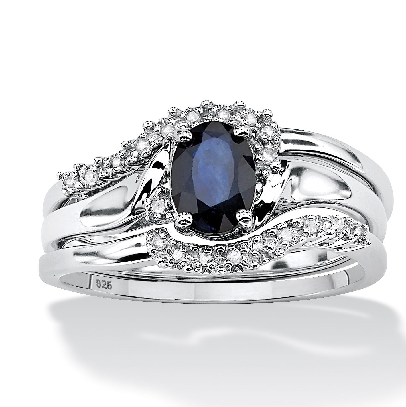 3 Piece 1.05 TCW Oval Sapphire and Diamond Accent Bridal Ring Set in Platinum over Sterling Silver by PalmBeach Jewelry