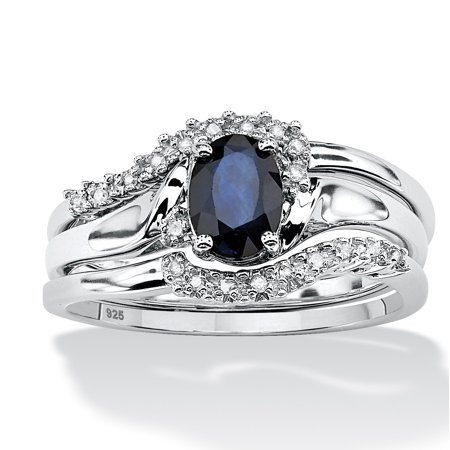 3 Piece 1.05 TCW Oval Sapphire and Diamond Accent Bridal Ring Set in Platinum over Sterling (Diamond Accent Bridal Set)