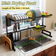 Over Sink Dish Drying Rack, 2 Cutlery Holders Drainer Shelf for Kitchen Supplies Storage Counter Organizer Stainless Steel Display- Kitchen Space Save Must Have