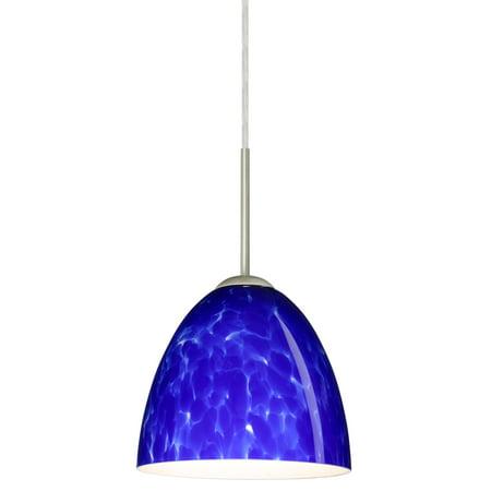Besa Lighting 1JT-447086-LED Vila 1-Light LED Cord-Hung Mini Pendant with Blue Cloud Glass Shade Clouds 3 Light Mini