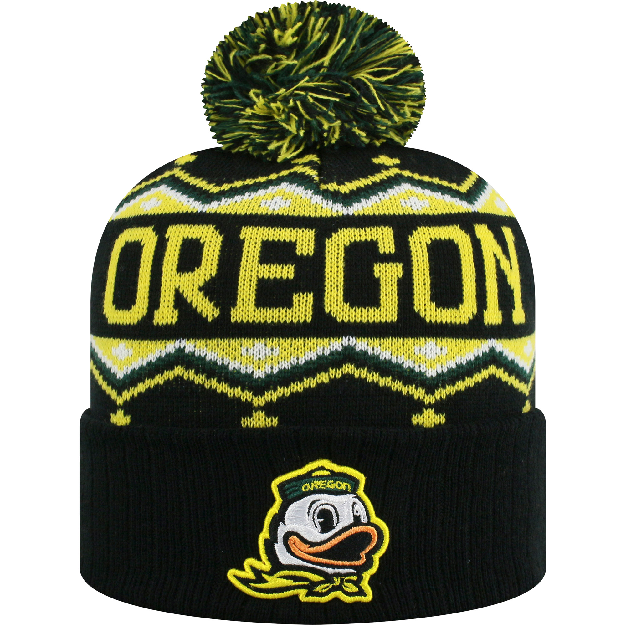 Men's Russell Black/Gold Oregon Ducks Sewn Cuffed Knit Hat With Pom - OSFA