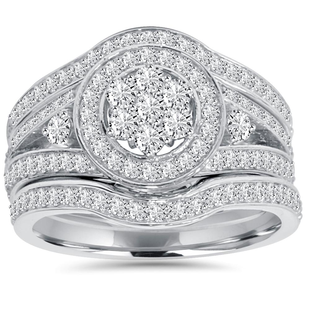 1.00Ct Halo Diamond Engagement Trio Wedding Guard Ring Set White Gold by Pompeii3