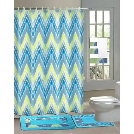 Cynthia blue lime green 15 piece bathroom accessory set for Blue and green bathroom accessories