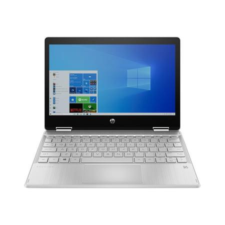 HP Pavilion x360 11m-ap0023dx - Flip design - Pentium Silver N5030 / 1.1 GHz - Windows 10 Home 64-bit in S mode - 4 GB RAM - 128 GB SSD TLC - 11.6u0022 IPS touchscreen 1366 x 768 (HD) - UHD Graphics 605 - Wi-Fi 5, Bluetooth - natural silver, paint finish (cov