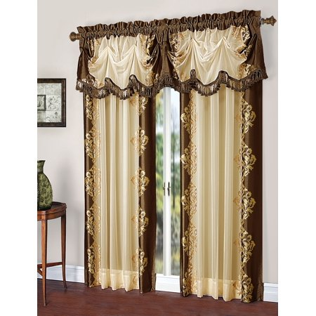 Danbury Complete Faux Silk & Embroidered Window Curtain & Valance Treatment Set - Chocolate Embroidered Silk Polyester