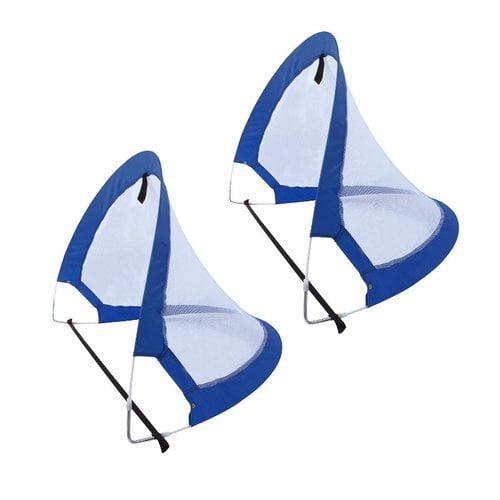 ALEKO Portable Pop Up Soccer Net with Carry Bag - 2.5 x 4 Feet - Blue - Set of 2