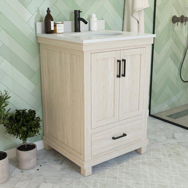 Dorel Living Sunnybrooke 24 Inch Bathroom Vanity W Sink Rustic White Walmart Com Walmart Com