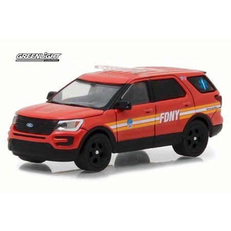 2016 Ford Fire Department City of New York (FDNY) with FDNY Squad Number Decal Sheet, Red - Greenlight 42823/48 - 1/64 Scale Diecast Model Toy - Red Toy Car