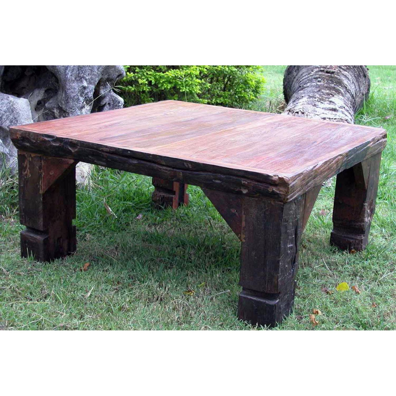 Groovystuff Ranch House Square Teak Wood Coffee Table