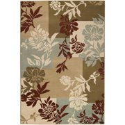 2.15' x 7.5' El Jardín Lily Pad Green, Sienna and Raw Umber Area Throw Rug Runner