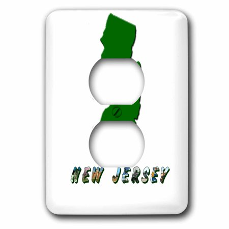 3dRose State Map of New Jersey - 2 Plug Outlet Cover (New Jersey Outlets Stores)