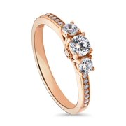 Rose Gold Plated Sterling Silver Cubic Zirconia CZ 3-Stone Promise Engagement Ring Size 10