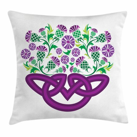 Thistle Throw Pillow Cushion Cover, Celtic Knot and Thistle Plant in Basket Form with Flowers, Decorative Square Accent Pillow Case, 16 X 16 Inches, Shamrock Green Violet ans Purple, by