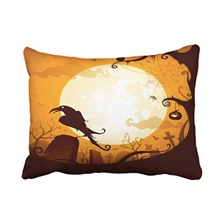 WinHome Decorative Pillowcases Halloween Graveyard Scenes Raven Pumpkin Spider Throw Pillow Covers Cases Cushion Cover Case Sofa 20x30 Inches Two Side - Halloween Ii Best Scenes