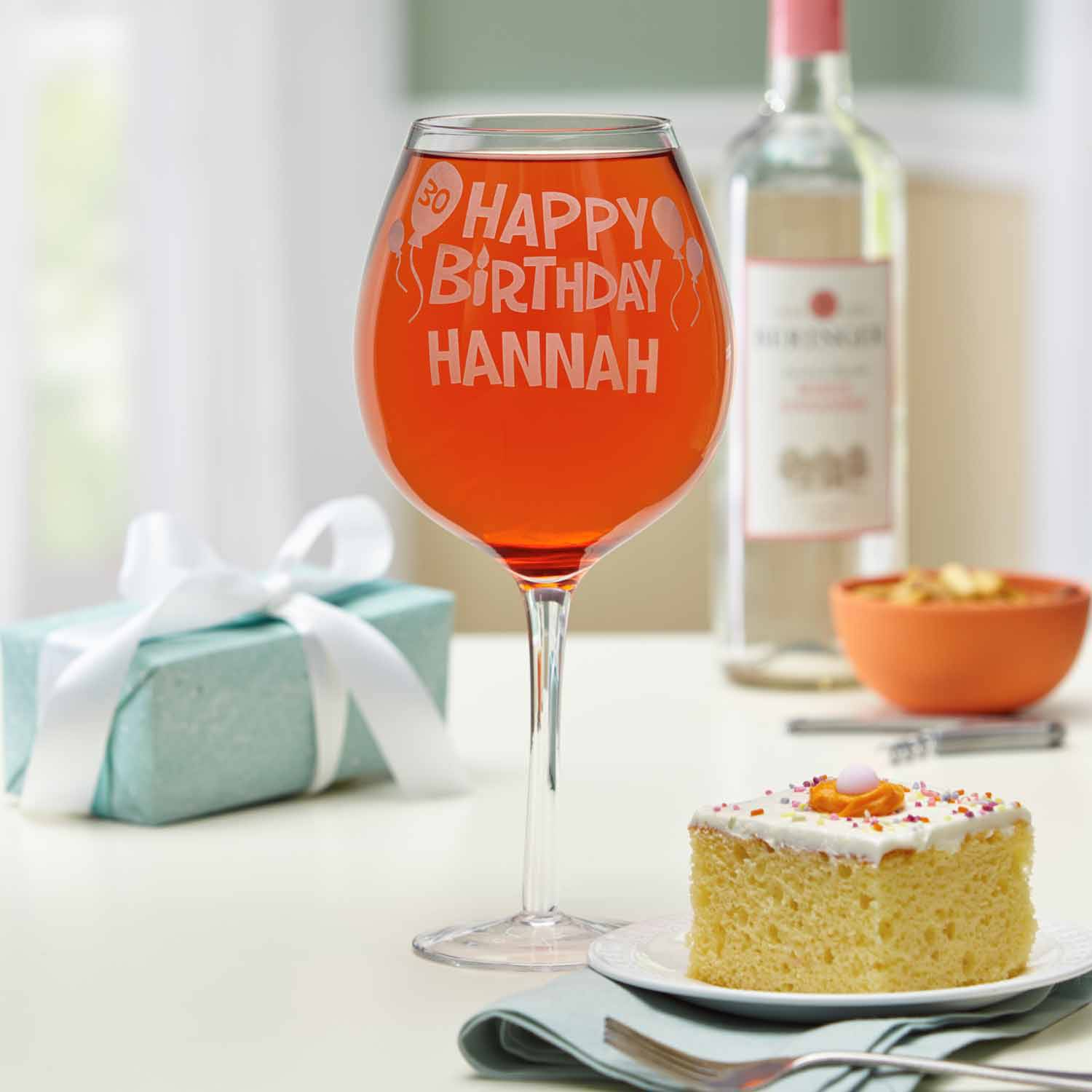 Personalized Happy Birthday Colossal Wine Glass