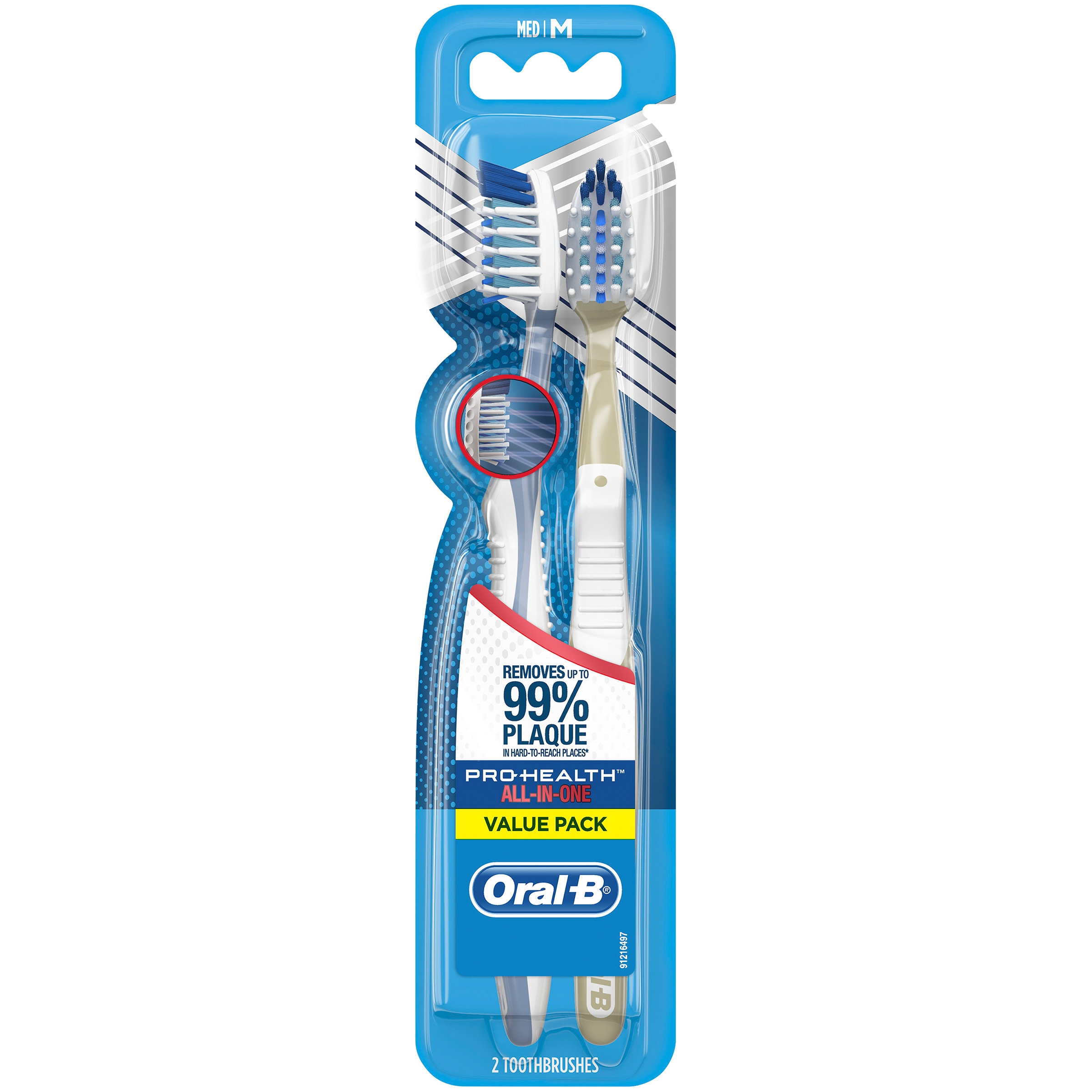 Oral-B Pro-Health All-in-One Manual Toothbrush, Medium, 2 ct., Value Pack