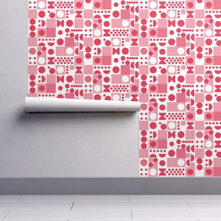 Removable Water-Activated Wallpaper Dot Pink Retro Home Mod Dots -