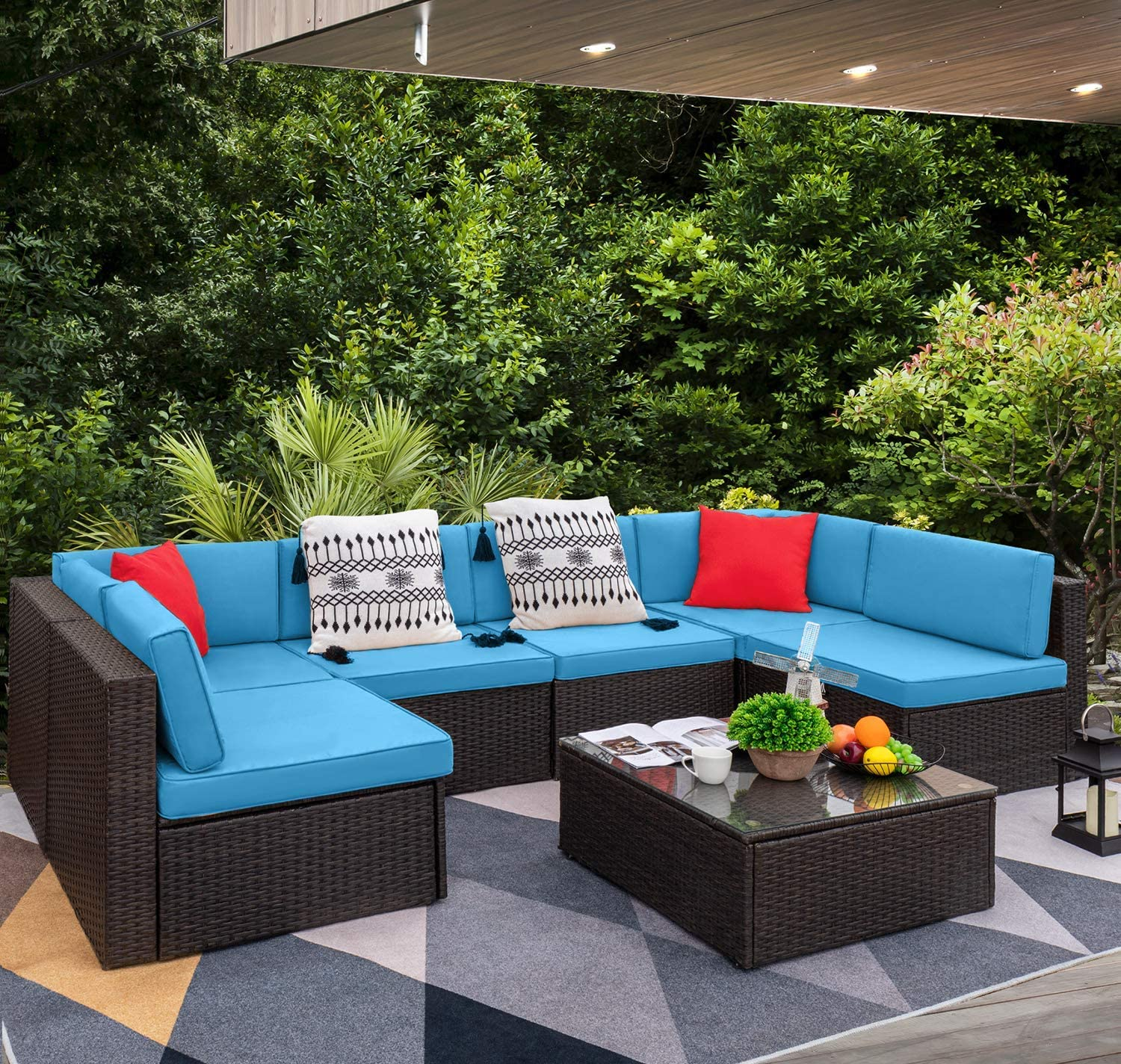 Walnew 7 Pieces Patio Conversation Sets Outdoor Sectional ... on Patio Loveseat Set id=49538
